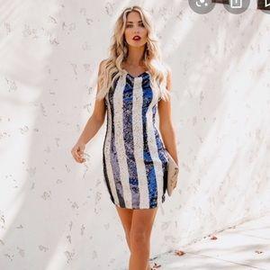 Striped sequin dress
